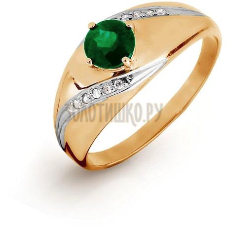Кольцо с изумрудом и бриллиантами Т141016434