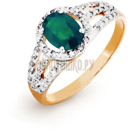 Кольцо с изумрудом и бриллиантами Т141016438