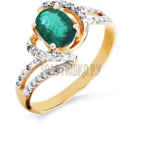 Кольцо с изумрудом и бриллиантами Т141016439_3