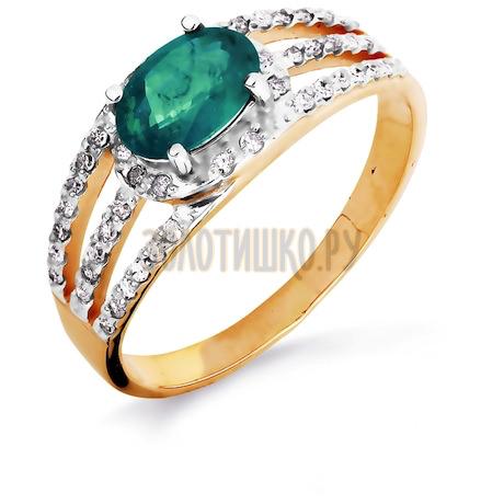 Кольцо с изумрудом и бриллиантами Т141016440_2