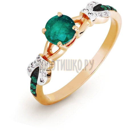 Кольцо с изумрудами и бриллиантами Т141016471_3