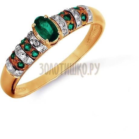 Кольцо с изумрудами и бриллиантами Т141016475