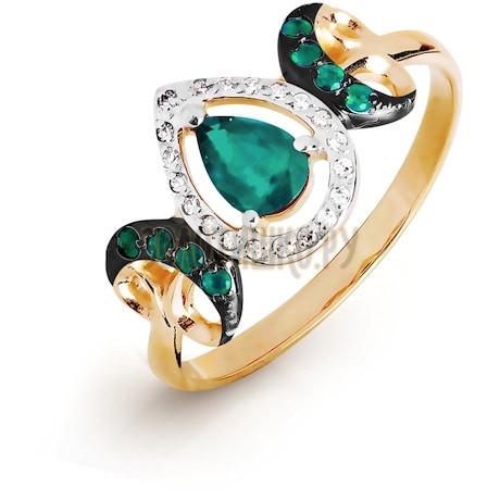Кольцо с изумрудами и бриллиантами Т141016478_2