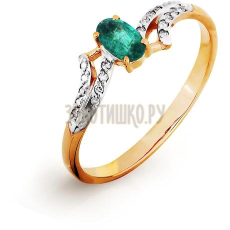 Кольцо с изумрудом и бриллиантами Т141016507