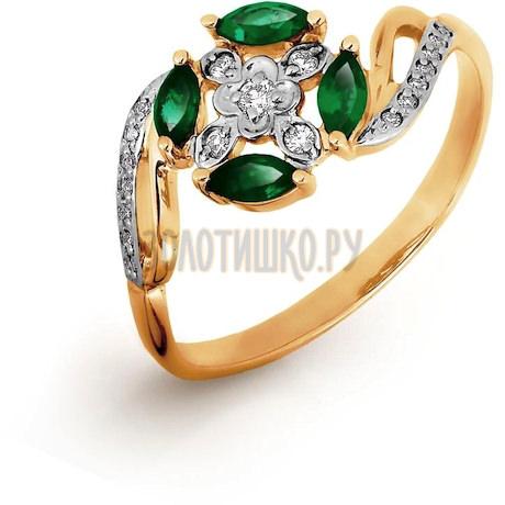 Кольцо с изумрудами и бриллиантами Т141016520