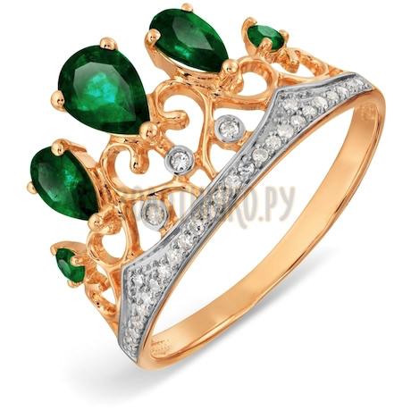 Кольцо с изумрудами и бриллиантами Т141017119