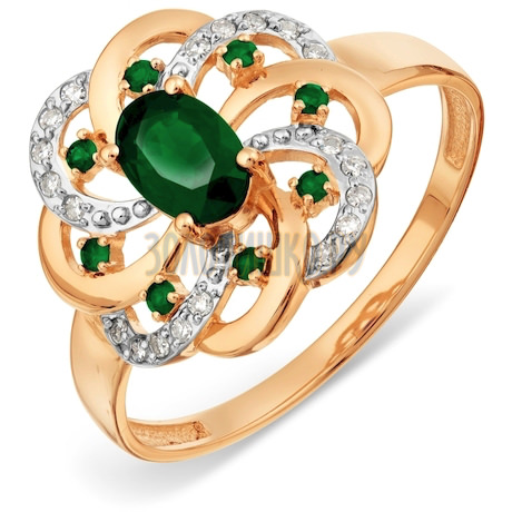 Кольцо с изумрудами и бриллиантами Т141017795