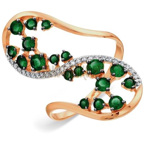 Кольцо с изумрудами и бриллиантами Т141018069