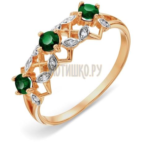Кольцо с изумрудами и бриллиантами Т141018107_3