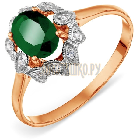 Кольцо с изумрудом и бриллиантами Т141018431