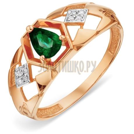 Кольцо с изумрудом и бриллиантами Т141018449