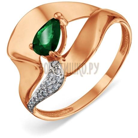 Кольцо с изумрудом и бриллиантами Т141018723_2