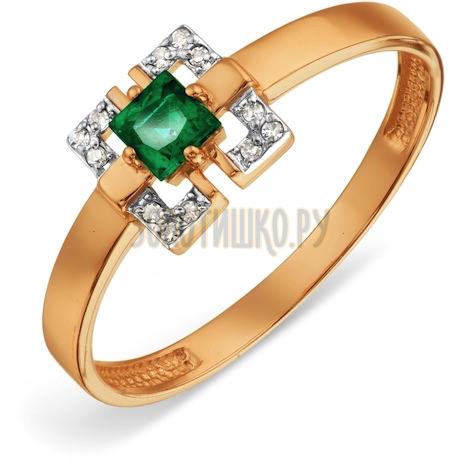 Кольцо с изумрудом и бриллиантами Т141018856_3