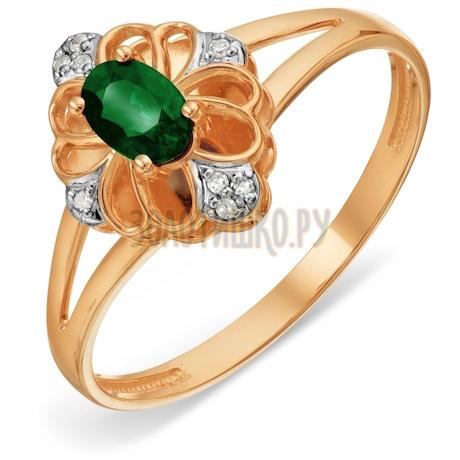 Кольцо с изумрудом и бриллиантами Т141018976
