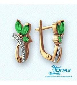 Серьги с изумрудами и бриллиантами Т141021621