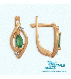 Серьги с изумрудами и бриллиантами Т141022146_3