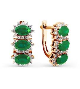 Серьги с изумрудами и бриллиантами Т141025011