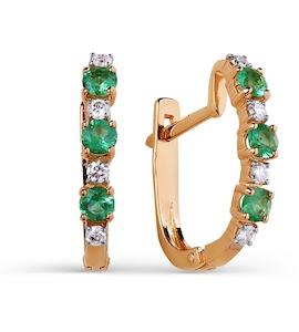 Серьги с изумрудами и бриллиантами Т141025303_3