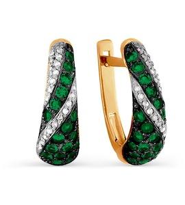 Серьги с изумрудами и бриллиантами Т141025564_3