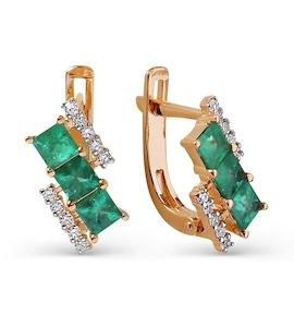 Серьги с изумрудами и бриллиантами Т141025643