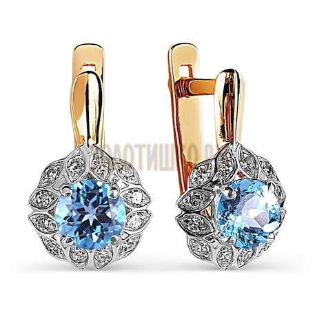 Серьги с топазами и бриллиантами Т141026125_3