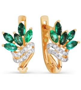 Серьги с изумрудами и бриллиантами Т141026505