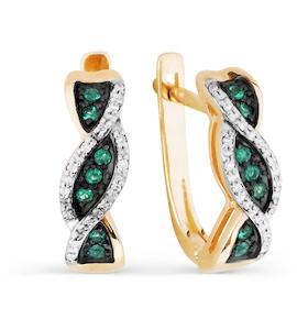 Серьги с изумрудами и бриллиантами Т141026509_3