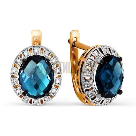 Серьги с топазами и бриллиантами Т141026631