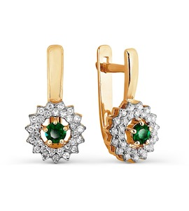 Серьги с изумрудами и бриллиантами Т141027094_3