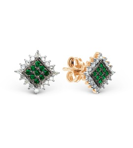 Серьги с изумрудами и бриллиантами Т141027873_2