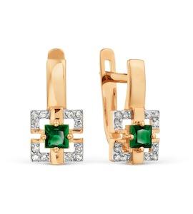 Серьги с изумрудами и бриллиантами Т141029209