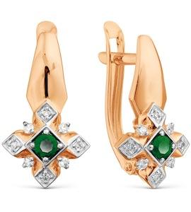 Серьги с изумрудами и бриллиантами Т141029666