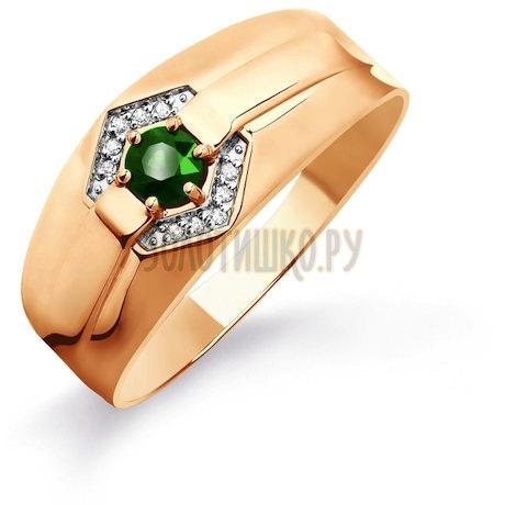 Кольцо с изумрудом и бриллиантами Т141045225