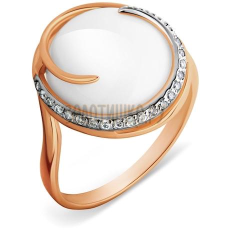 Кольцо с ониксом и фианитами Т142014418-01