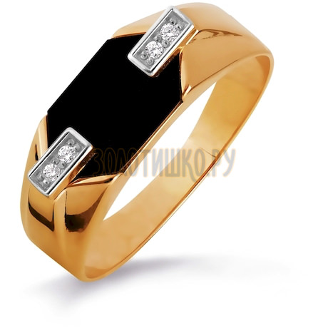 Кольцо с ониксом и фианитами Т142046096