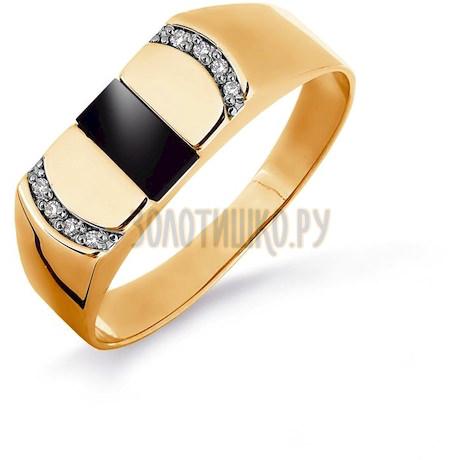 Кольцо с ониксом и фианитами Т142046097