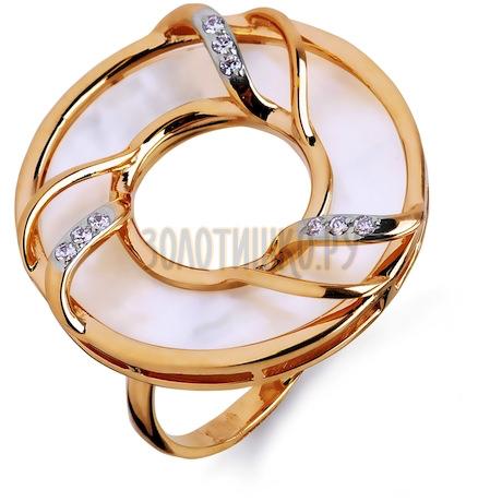 Кольцо с перламутром и фианитами Т143014423