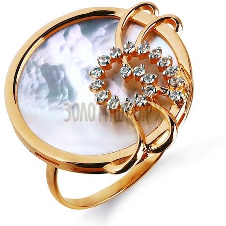 Кольцо с перламутром и фианитами Т143014792