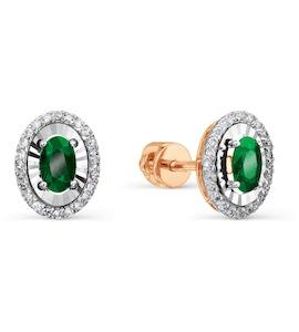 Серьги с изумрудами и бриллиантами Т145628878