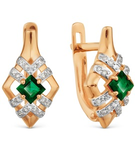 Серьги с изумрудами и бриллиантами Т146029208_2