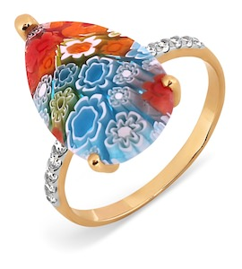 Кольцо с ювелирным стеклом и фианитами Т147017362