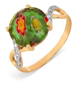 Кольцо с ювелирным стеклом и фианитами Т147017387