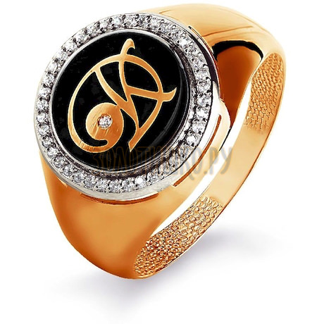 Кольцо с бриллиантами и эмалью Т181044051