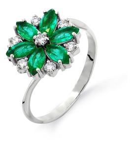 Кольцо с изумрудами и бриллиантами Т301011275
