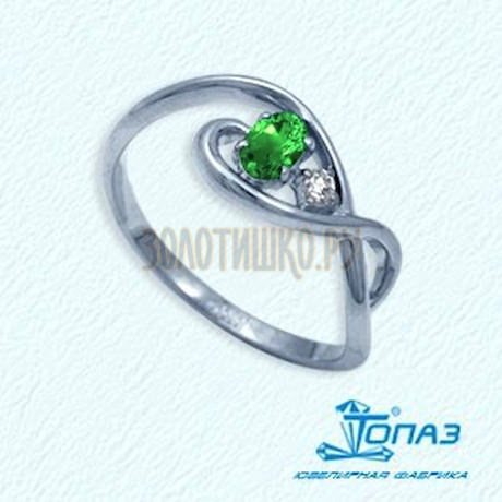 Кольцо с изумрудом и бриллиантом Т301012041