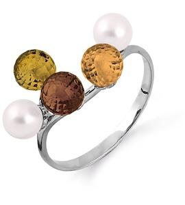 Кольцо с жемчугом, раухтопазом и цитринами Т301013683