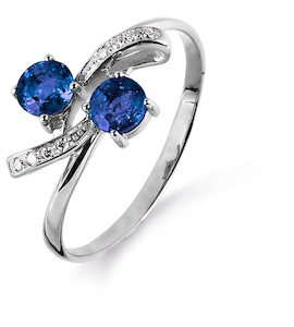 Кольцо с сапфирами и бриллиантами Т301014988