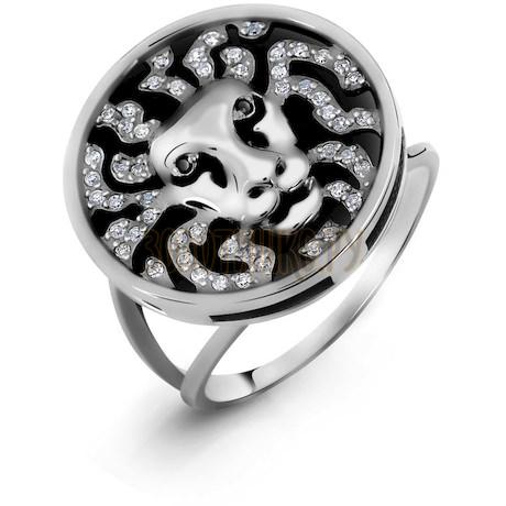 Кольцо с бриллиантами и ониксом Т301015322