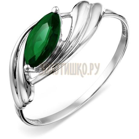 Кольцо с изумрудом искусственным Т301018248-01