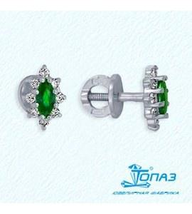 Серьги с изумрудами и бриллиантами Т301022079_3